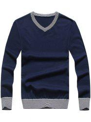 Striped Hem V Neck Pullover Sweater -