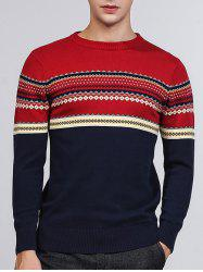 Tribal Pattern Crew Neck Pullover Sweater - BLUE 2XL