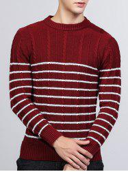 Striped Twist Knit Crew Neck Sweater -