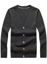 Button Up V Neck Flat Knitted Cardigan - DEEP GRAY 2XL