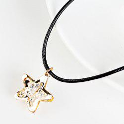 PU Leather Rope Rhinestone Star Necklace