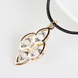 PU Leather Rope Rhinestone Leaves Necklace -