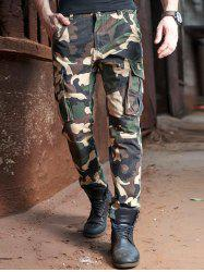Drawstring Cuff Zipper Fly Multi Pocket Camo Pants