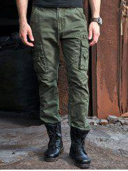 Multi Pocket Zipper Fly Loose Cargo Pants - ARMY GREEN 40
