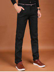 Trimmed Pocket Zipper Fly Flocking Skinny Chino Pants -
