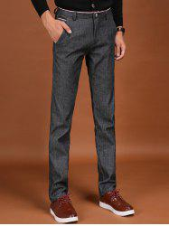 Trimmed Pocket Zipper Fly Flocking Skinny Chino Pants