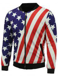 Stand Collar 3D Stars and Stripes Print Zip Up Padded Jacket