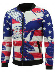 Stand Collar 3D Abstract Stars and Stripes Print Zip Up Padded Jacket