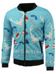 Stand Collar 3D Christmas Cartoon Reindeer Print Zip Up Padded Jacket