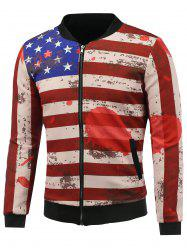 Stand Collar 3D Splatter Paint Stars and Stripes Print Zip Up Padded Jacket