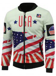 Stand Collar 3D USA Stars and Stripes Print Zip Up Padded Jacket
