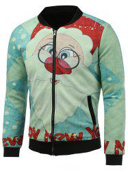 Stand Collar 3D Father Christmas and Snowflake Print Padded Jacket