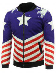 Stand Collar 3D Stars and Striped Print Zip Up Padded Jacket