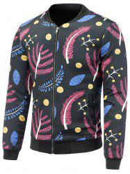 Stand Collar 3D Colorful Leaves Print Zip Up Padded Jacket -