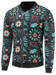 Stand Collar 3D Christmas Floral Print Padded Jacket