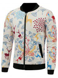 Stand Collar 3D Reindeer and Floral Cartoon Print Padded Jacket -