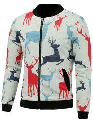 Stand Collar 3D Reindeer Print Padded Jacket - WHITE 5XL