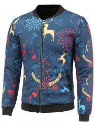 Stand Collar 3D Reindeer and Floral Cartoon Printed Padded Jacket