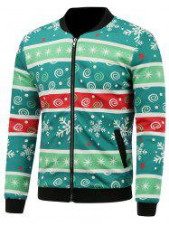 Stand Collar 3D Christmas Stripe and Snowflake Print Padded Jacket