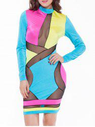 Colorful Patchwork Mesh See-Through Bodycon Dress -