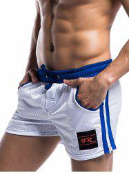 Side Stripe Drawstring Perforated Gym Shorts