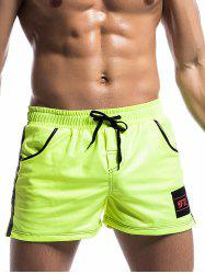 Trimmed Pocket Side Striped Drawstring Gym Shorts - GREEN
