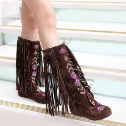 Embroidered Mid Calf Fringe Boots