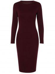 Back Slit Long Sleeve Dress - WINE RED