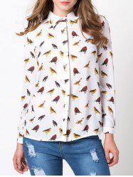 Printed Long Sleeve Fitting Chiffon Animal Print Shirt
