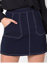 Double Pocket Denim A-Line Skirt - PURPLISH BLUE