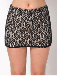 Lace Insert Mini Bodycon Skirt