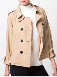 Double-Breasted Loose Duster Jacket - KHAKI