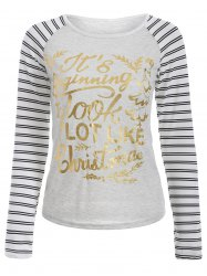Christmas Letter Stripe Raglan Sleeve T-Shirt