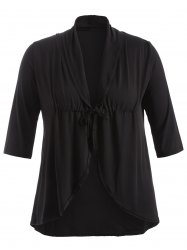 Slimming Drawstring Asymmetric Jacket - BLACK