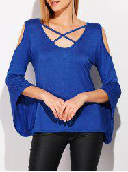 Cold Shoulder Flare Sleeve Criss Cross T-Shirt