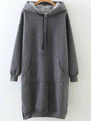 Fleece Front Pocket Long Hoodie -