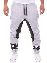 Contrast Panel Drawstring Drop Crotch Jogger Pants
