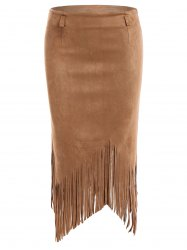 Tassel Edge Faux Suede Asymmetric Pencil Skirt -