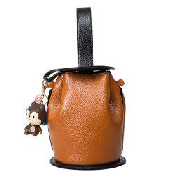 Magnetic Closure PU Leather Crossbody Bag - LIGHT BROWN
