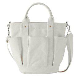 Pockets Metal Canvas Handbags - WHITE