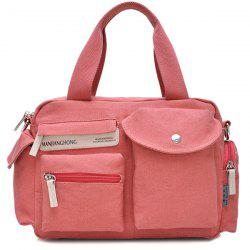 Colour Spliced Pockets Canvas Tote Bag