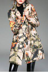 A Line Printed Padded Coat -