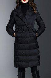 Lapel Knee Length Down Coat