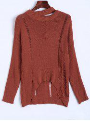 Slouchy Dropped Shoulder Distressed Sweater