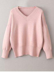 V Neck Long Sleeve Pullover Sweater -