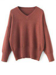 V Neck Long Sleeve Pullover Sweater - BRICK-RED
