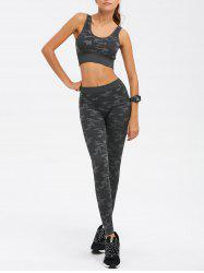 Sporty Bra with Camo Running Leggings Pants