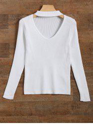 Cut Out V Neck Ribbed Choker Jumper - WHITE