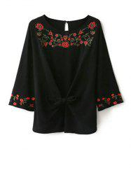 Round Neck Embroidered Front Knot Blouse