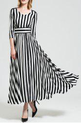 Maxi A Line Striped Dress with Sleeves -